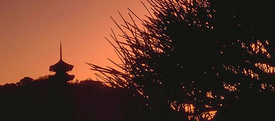 Sunset and a Buddhist Pagoda