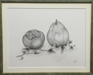 framed persimmon & pear